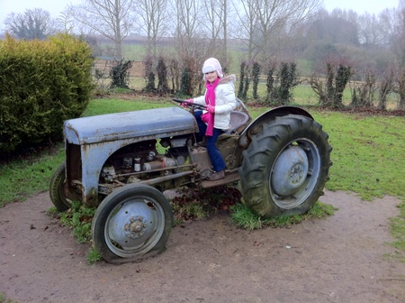 Alexandra on the tractor